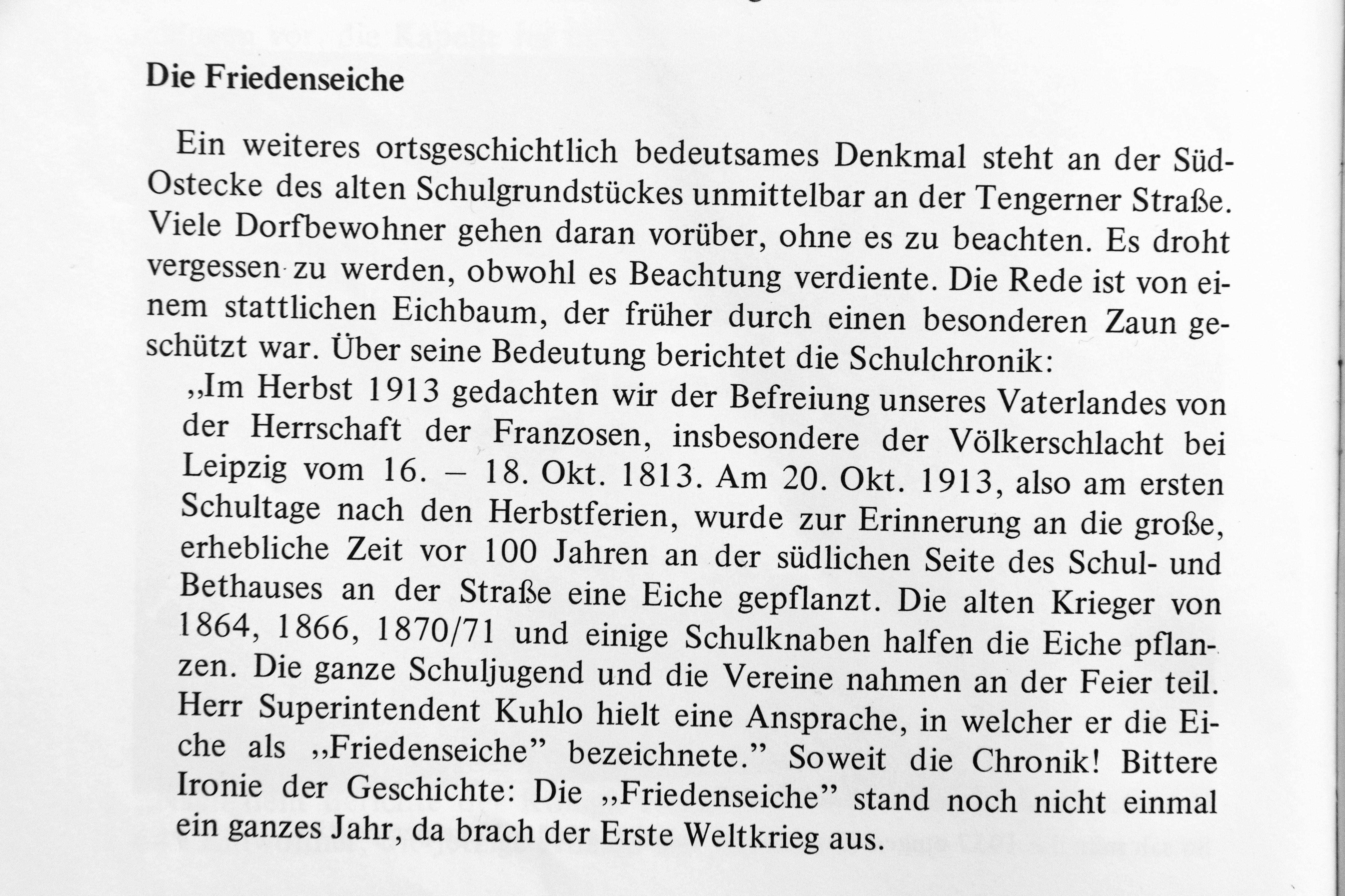"""Auszug aus der Schulchronik; hier in: """"Seit 1425 Kirchengemeinde Schnathorst"""", Seite 240."""